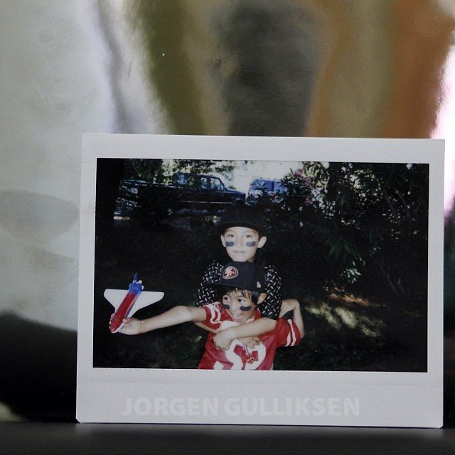 Kai and his cousin during Kai's 7th bday football party last Sept. #oneofmyalltimefavepolaroids